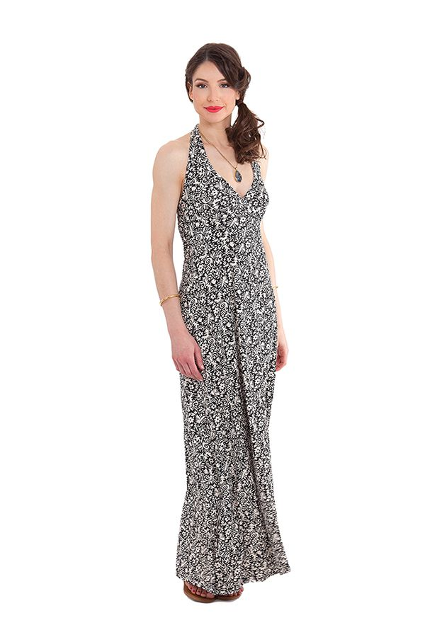 robe longue imprimee ideale soiree chic et ethnique boop blanche. Black Bedroom Furniture Sets. Home Design Ideas