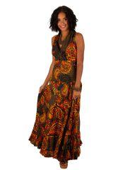 Robe longue imprimée marron chocolat et orangé Alina 309467