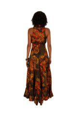 Robe longue imprimée marron chocolat et orangé Alina 309468
