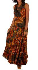 Robe longue imprimée marron chocolat et orangé Alina 315586