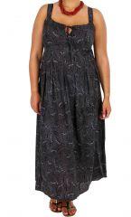 Robe longue imprimée noire femme grande taille Daisy 309360