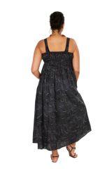Robe longue imprimée noire femme grande taille Daisy 309362