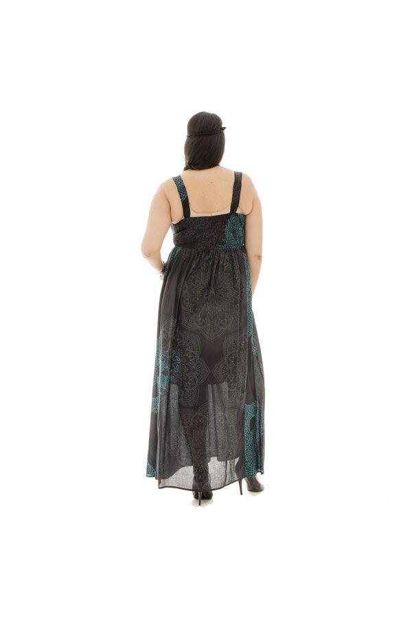Robe longue imprimée smockée dans le dos à bretelles Victory 290313