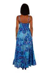 Robe longue imprimée sur fond uni bleu ciel femme Doina