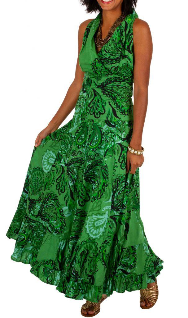 Robe Longue Imprimee Verte Sans Manches Adelina