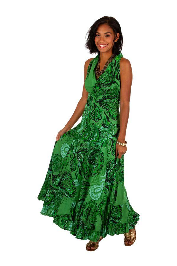 Robe longue imprimée verte sans manches Adelina