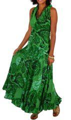 Robe longue imprimée verte sans manches Adelina 315592