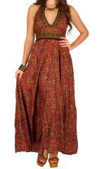 Robe longue joliment décolletée estivale et ethnique Jessy 310246