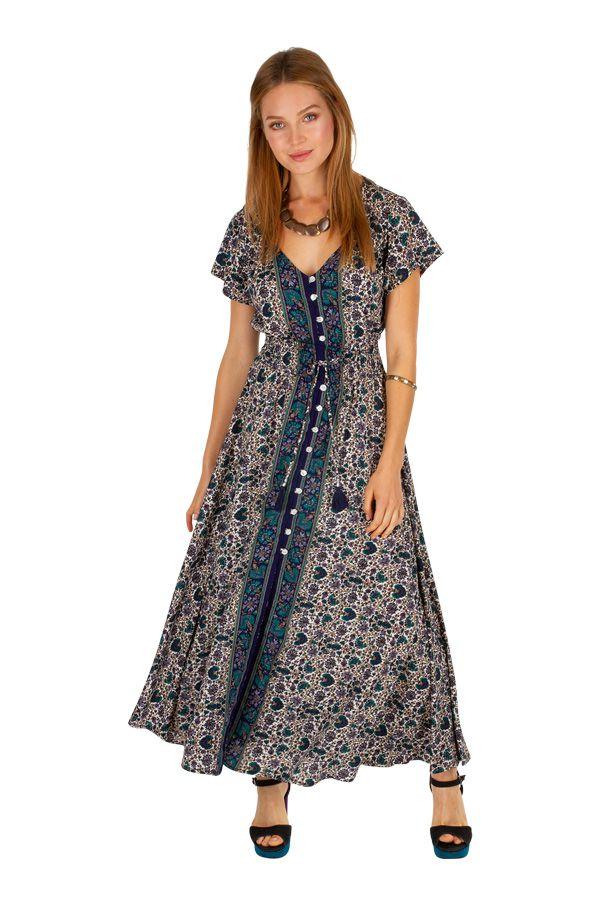 Robe longue look bohème avec des boutons devant Lora