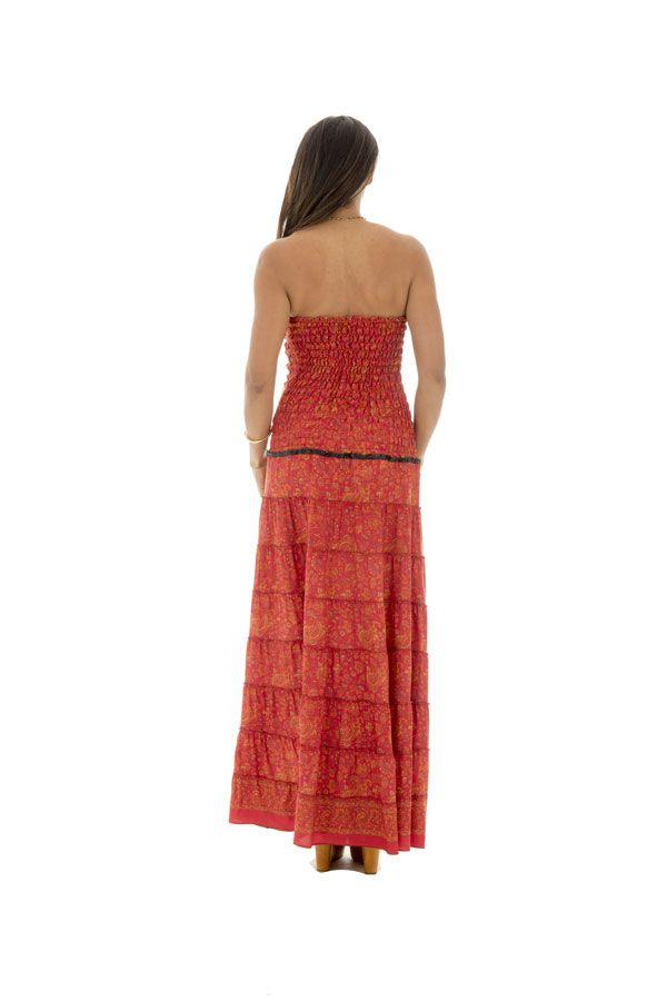 robe longue lumineuse avec bustier et smocks au dos Jord 289754