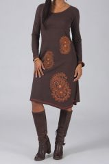 Robe longue marron à manches longues Bariza 318694