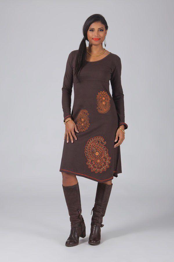 Robe longue marron à manches longues Bariza 318695
