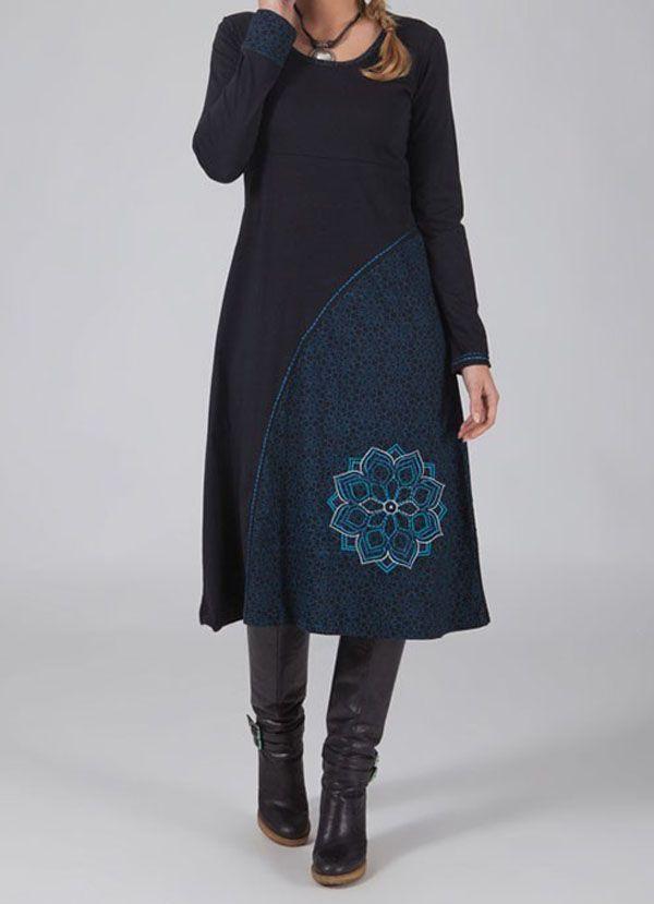 Robe longue noire à manches longues ethnique Laksy 318670