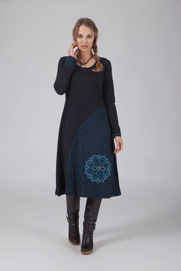 Robe longue noire à manches longues ethnique Laksy 318671