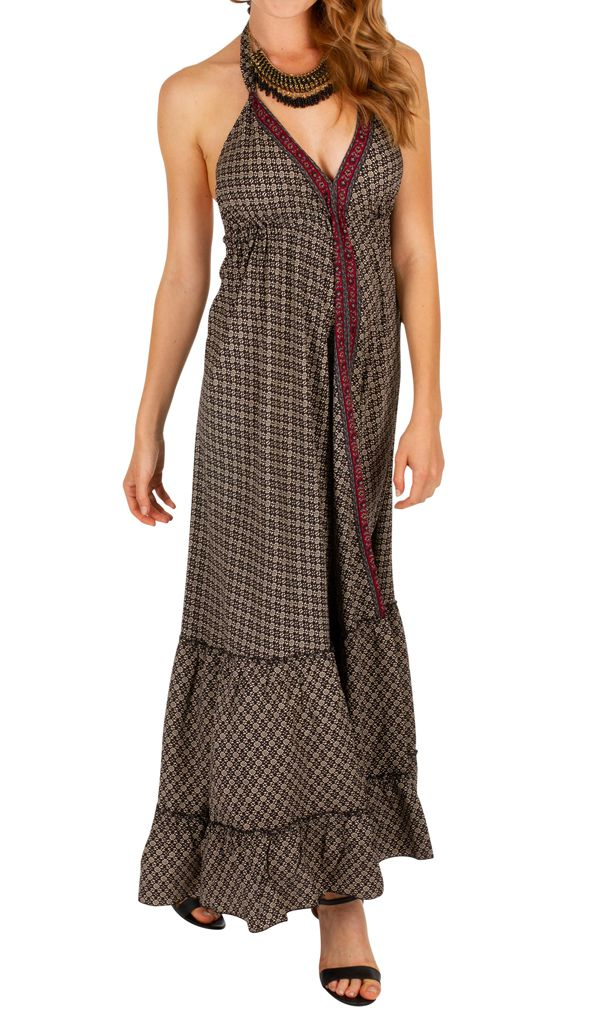 Robe longue noire au style bohème et ethnique Aurélie 310710