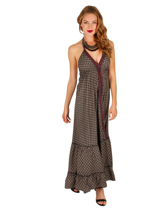 Robe longue noire au style bohème et ethnique Aurélie 310711