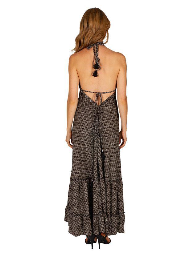 Robe longue noire au style bohème et ethnique Aurélie 310712