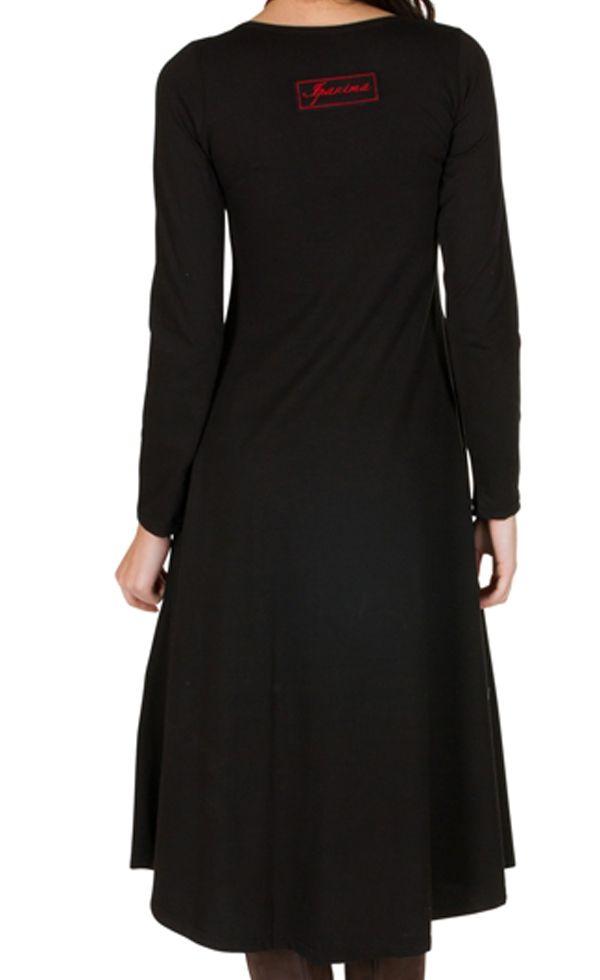 Robe longue Noire avec broderies col rond et manches longues Amane 301001