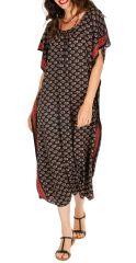 Robe longue noire bohème ample à manches courtes Ghinda 314500