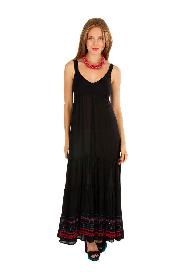 Robe longue noire de soirée fluide et féminine Roxana