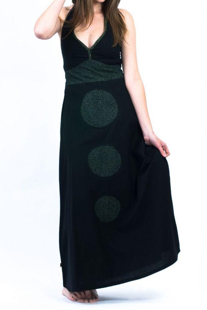 Robe longue noire décolletée pour femme à dos nu Mina 305458