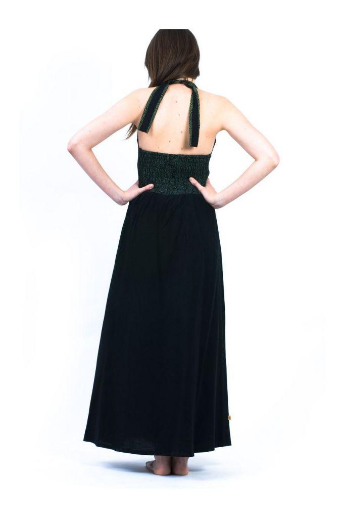Robe longue noire décolletée pour femme à dos nu Mina 305459