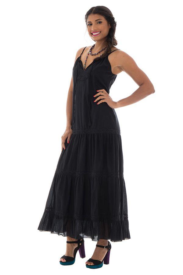 6914774e73c Robe longue noire en coton à fine bretelles Anda 288664. Loading zoom