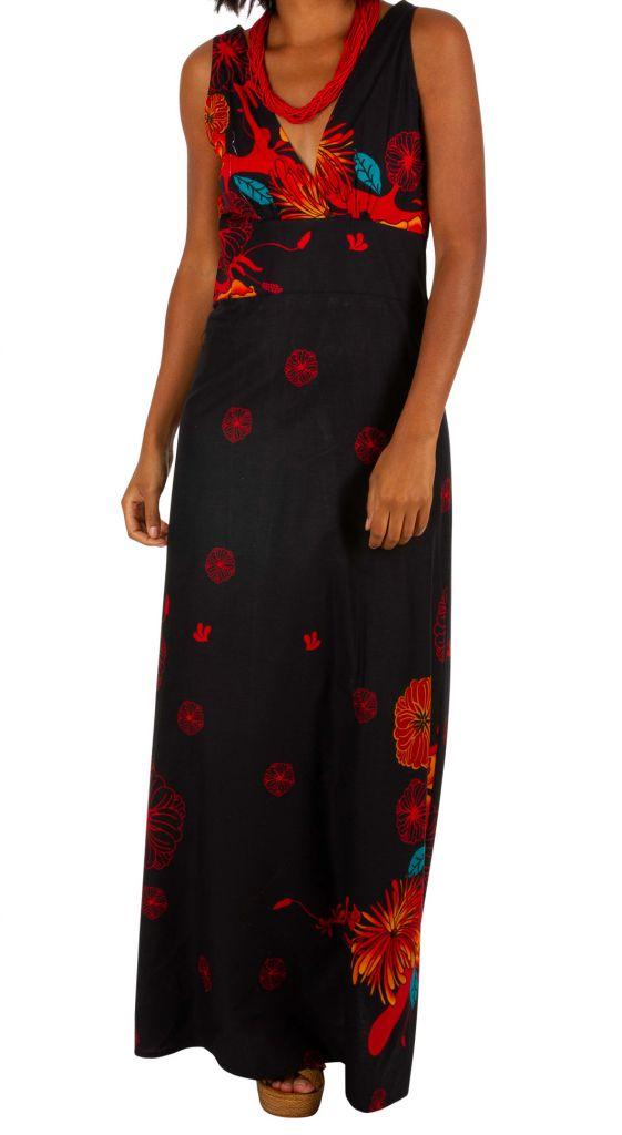 Robe longue noire en coton avec des motifs floraux Alina