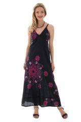 Robe longue noire et rose avec un col en v Adryana 288630