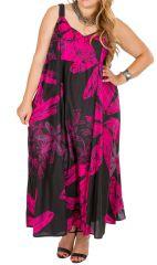 Robe longue noire et rose femme grande taille Miruna 309589