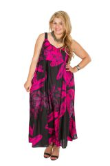Robe longue noire et rose femme grande taille Miruna 309590
