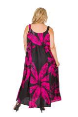 Robe longue noire et rose femme grande taille Miruna 309591