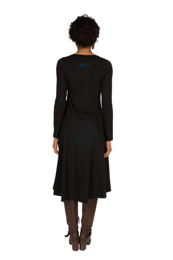 Robe longue Noire évasée à manches longues et col rond Anicet