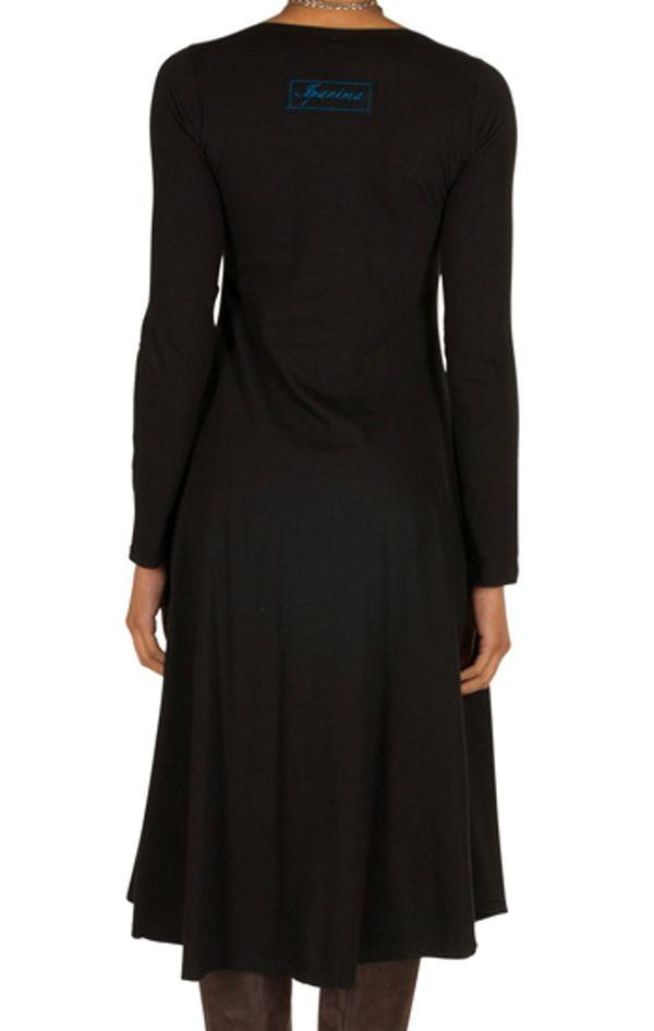 Robe longue Noire évasée à manches longues et col rond Anicet 301015