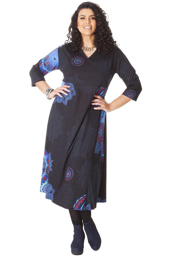 robe longue noire grande taille pas ch re et forme portefeuille calista. Black Bedroom Furniture Sets. Home Design Ideas