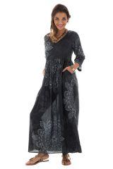 Robe longue noire imprimée à manches 3/4 Tamara 288741