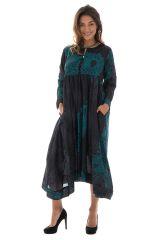Robe longue noire originale en voile de coton Tania 288752