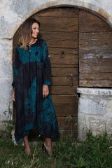 Robe longue noire originale en voile de coton Tania 288753