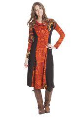 Robe longue originale à manches longues ethnique Violeta 286397