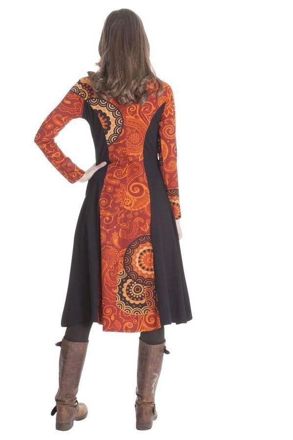 Robe longue originale à manches longues ethnique Violeta 286398