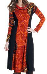 Robe longue originale à manches longues ethnique Violeta 286653