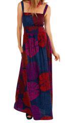 Robe longue originale ajustée à encolure carrée Maicha