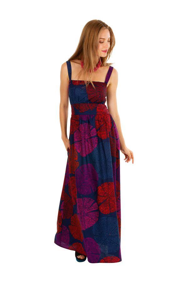 Robe longue originale ajustée à encolure carrée Maicha 307056