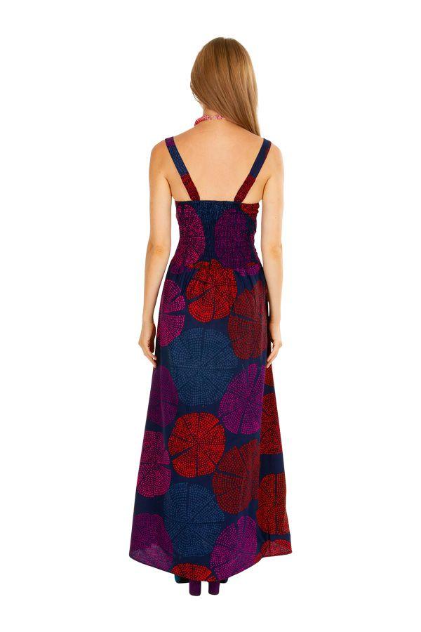 Robe longue originale ajustée à encolure carrée Maicha 307057