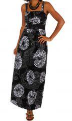 Robe longue originale ajustée très féminine col carré Lalao 307065