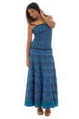 robe longue originale bleue avec bustier et smocks au dos Nanna 289757
