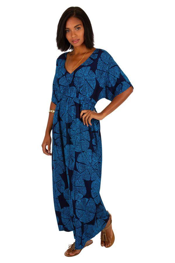 Robe longue originale cintrée sous poitrine évasée Susie 309149