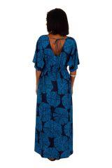 Robe longue originale cintrée sous poitrine évasée Susie 309150