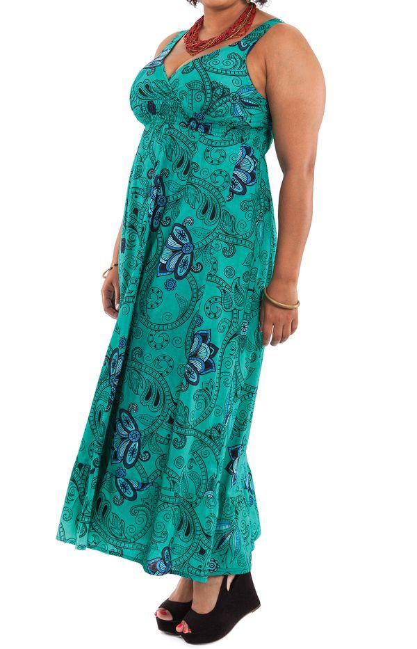 Robe longue Originale d'été et Smockée Sylvia Verte 284370