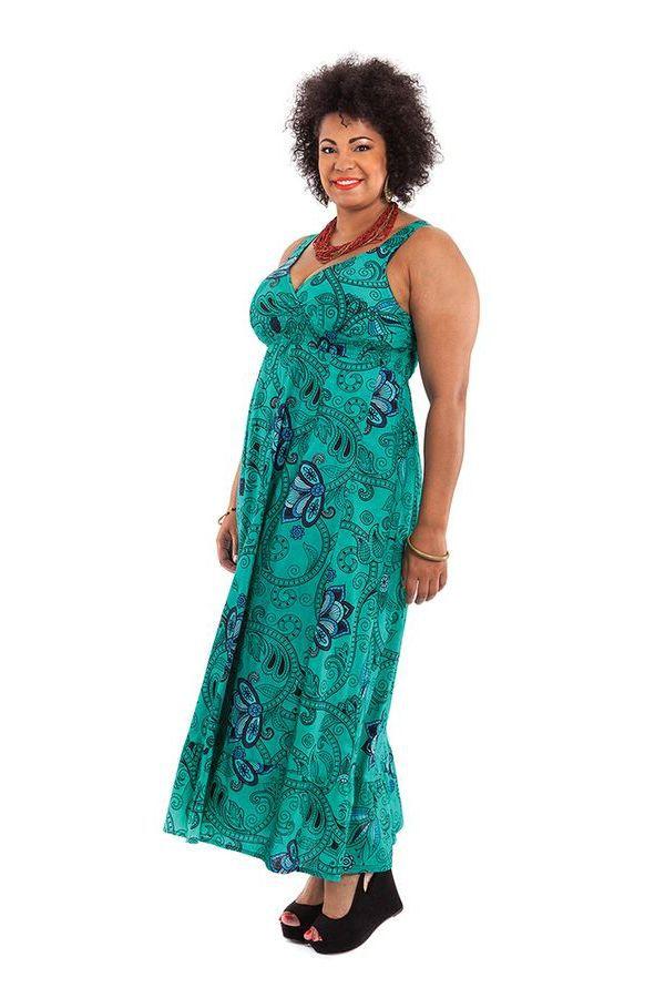 Robe longue Originale d'été et Smockée Sylvia Verte 284372
